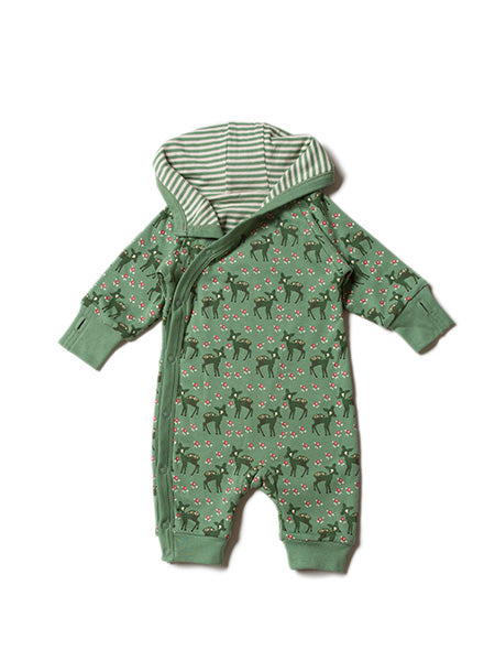 'Forest Doe' a double layered and hooded  babygrow to keep baby snug as a bug!