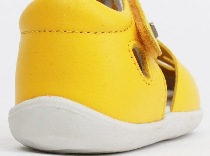 Bobux 'Zap' Step Up Sandal in vibrant yellow - fast-drying leather