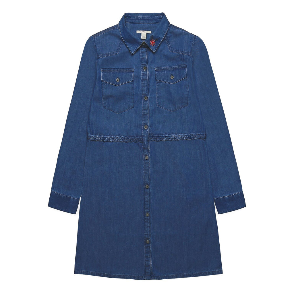 Girls Long Sleeved Denim Shirt Dress