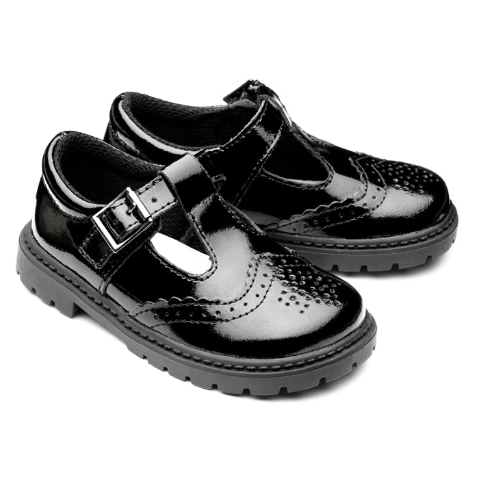 'Ellie' Patent Leather Black Brogue School Shoe