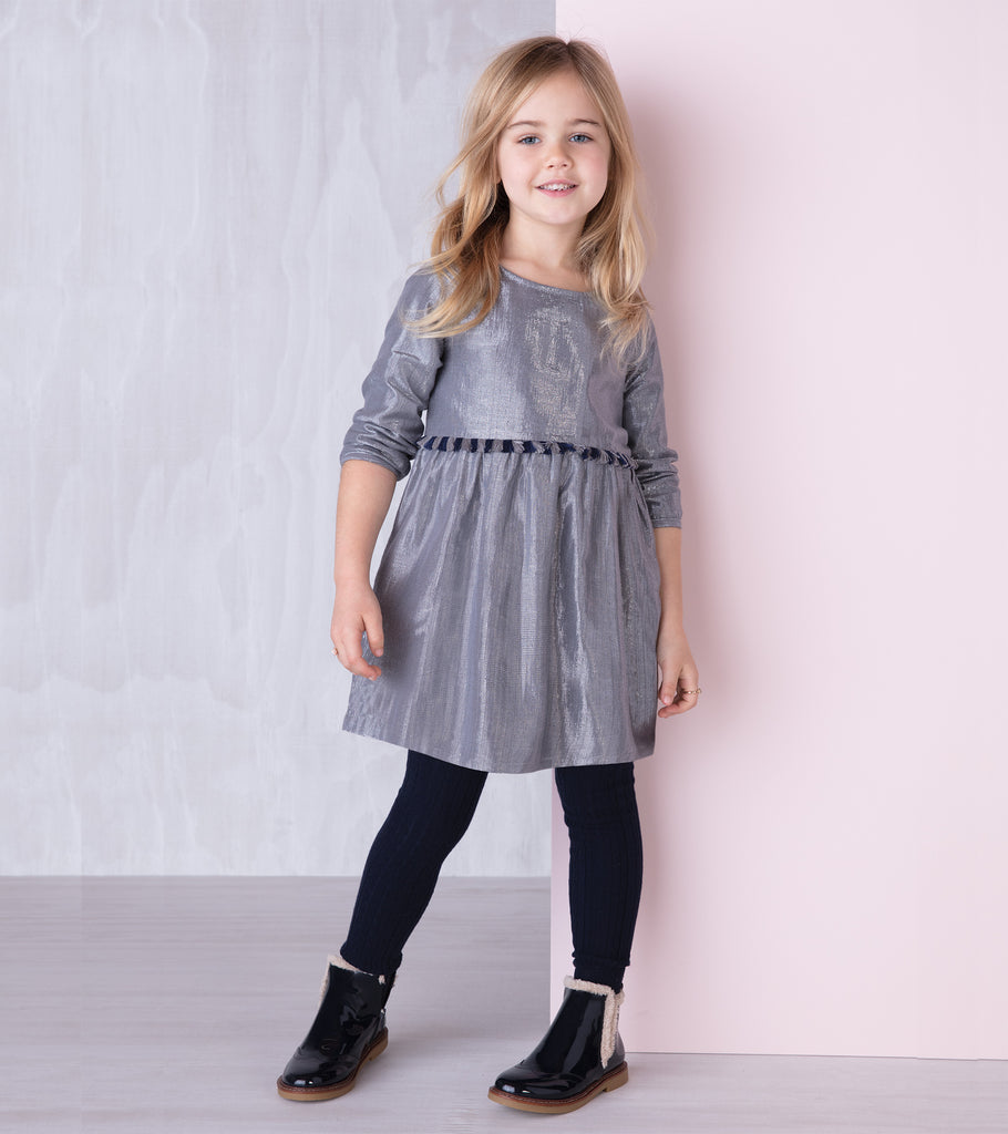 Hatley - Metallic Silver Party Dress, 8y