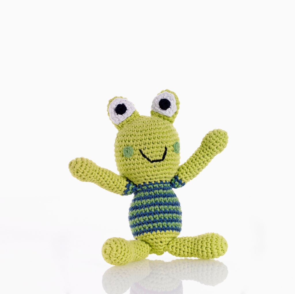 Cheerful Frog Baby Rattle - Crocheted from soft cotton, Fairtrade