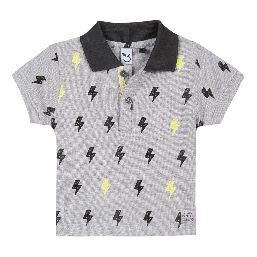3 Pommes - Grey Polo Shirt With Lightning Bolt Print