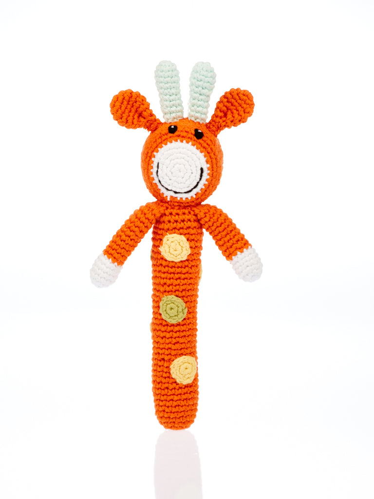 Stick Rattle - Fairtrade, handmade from cotton yarn - Lion, Bunny, Giraffe