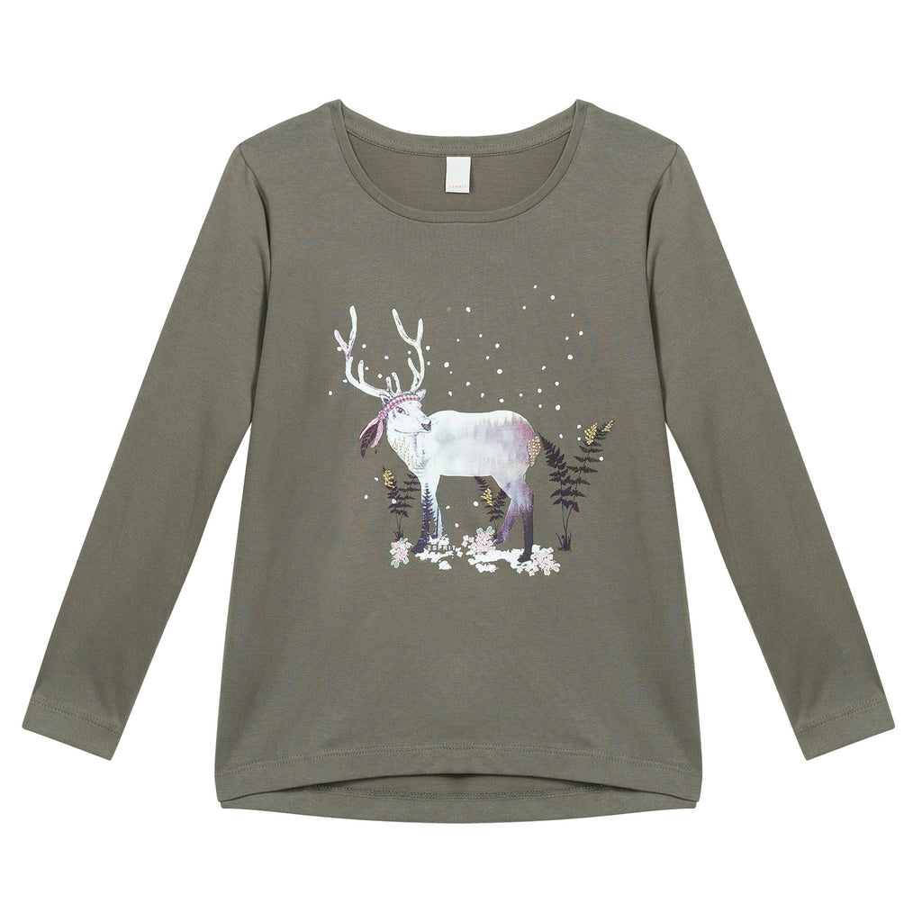 Esprit - Khaki Green Long Sleeved T-Shirt With Reindeer, 4-5y