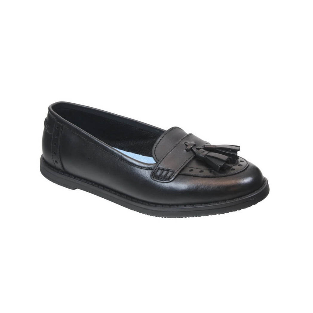 Older Girls Leather 'Harley' Slip On School Shoes, adult UK6 & UK7
