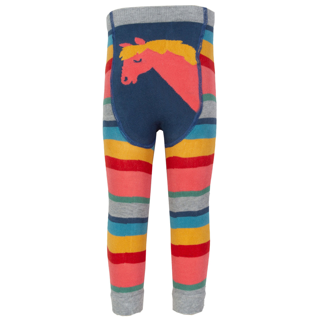 Colourful rainbow knit leggings from Kite feature a cute pony design on seat.
