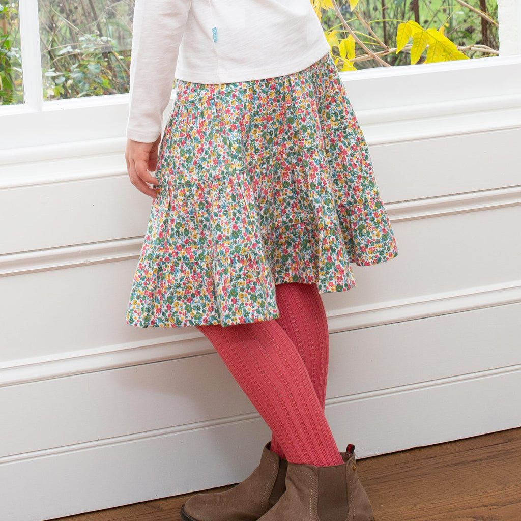 Cable rib tights by Kite, in soft organic cotton - in Cream, Mustard or Autumn Rose Pink
