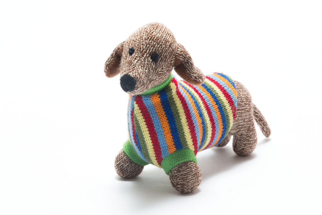 Knitted Sausage Dog Toy with Stripe Jumper