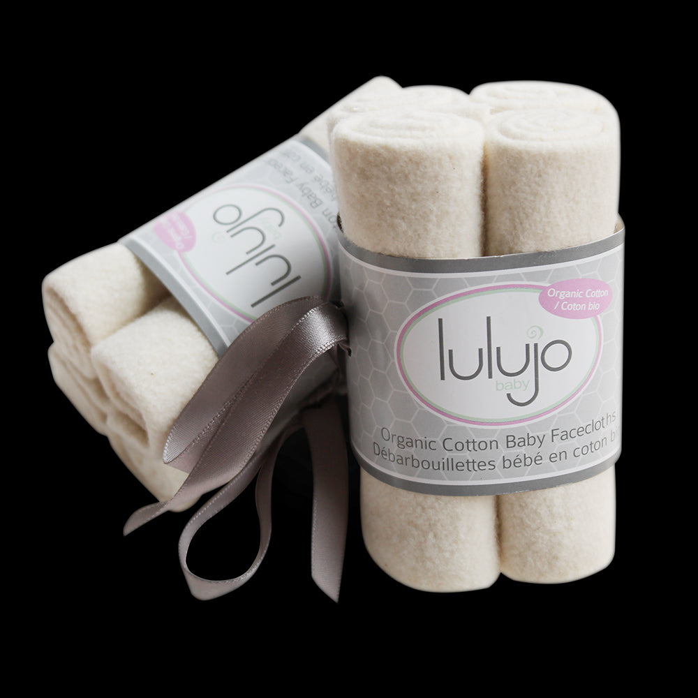 Eco-friendly face cloths from Lulujo - organic cotton