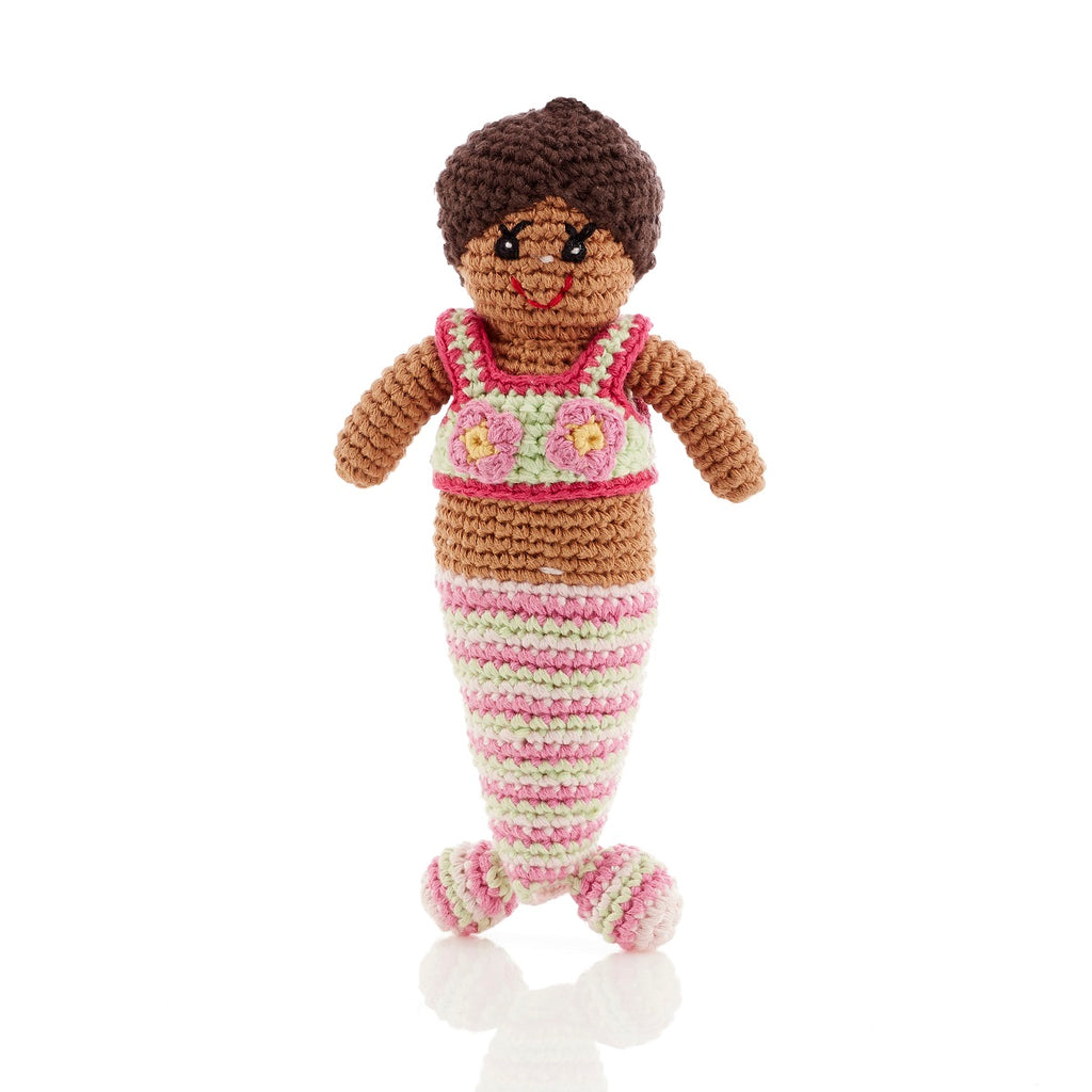 Cream Mermaid Baby Rattle, suitable from birth - Fairtrade and handmade