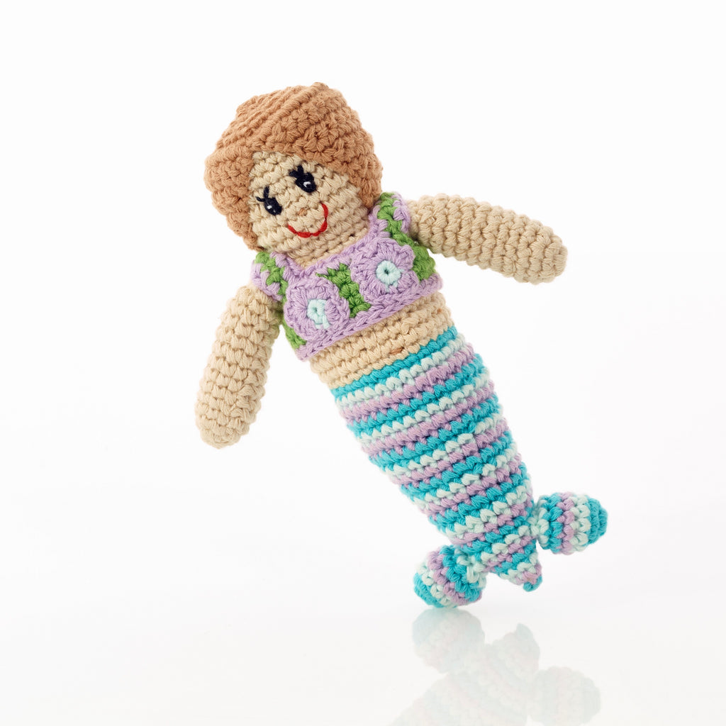 Crochet Cotton Mermaid Baby Rattle, Suitable from birth - Fairtrade, handmade