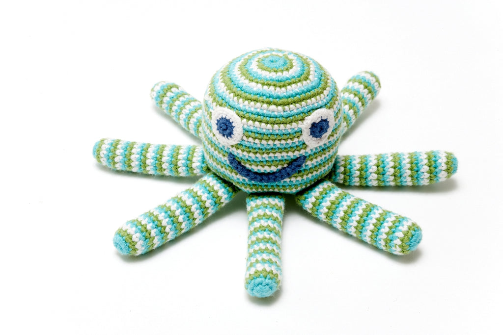 Octopus Baby Rattle - Fair Trade Crochet Cotton - Cheerful Bright Stripes