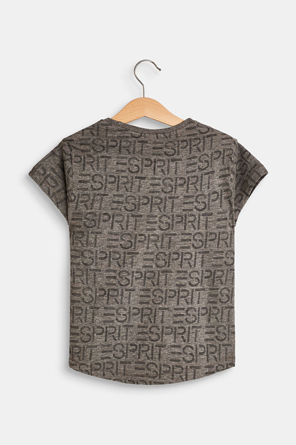 Melange Grey Short Sleeved T-Shirt With All Over Esprit Logo