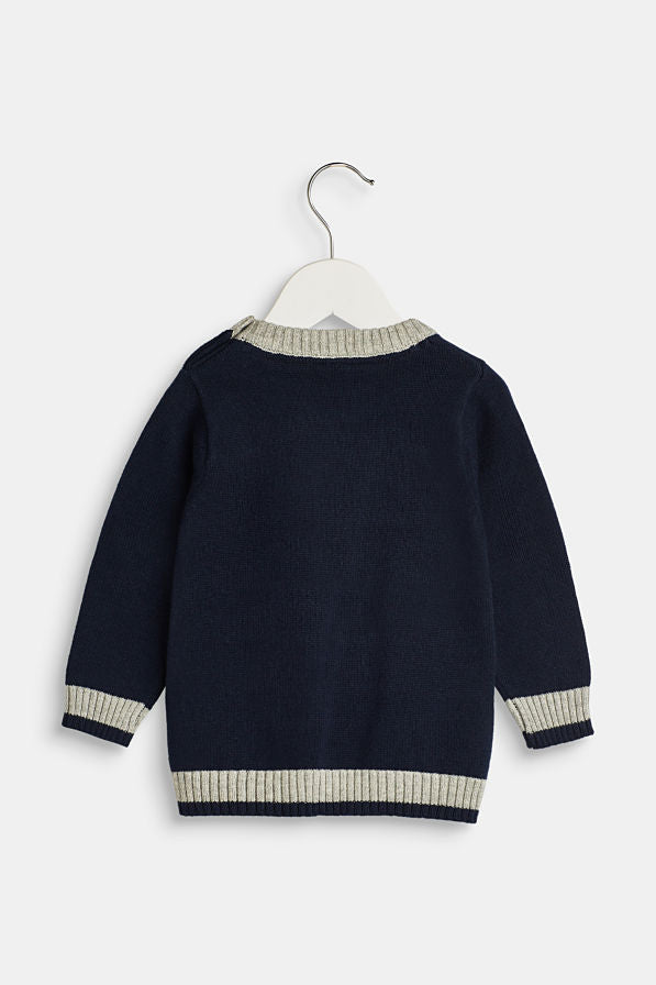Baby & Toddler Navy Blue Knitted Aeroplane Jumper, 6m
