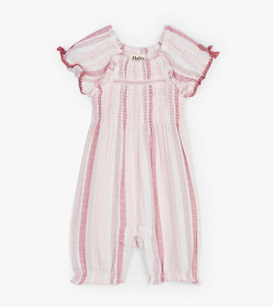 Pink Stripe Romper With Puff Sleeves