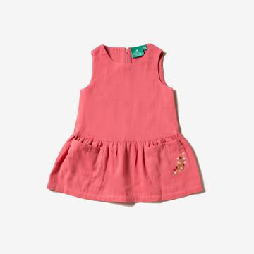 Sunset Pink Embroidered Pocket Dress - Little Green Radicals