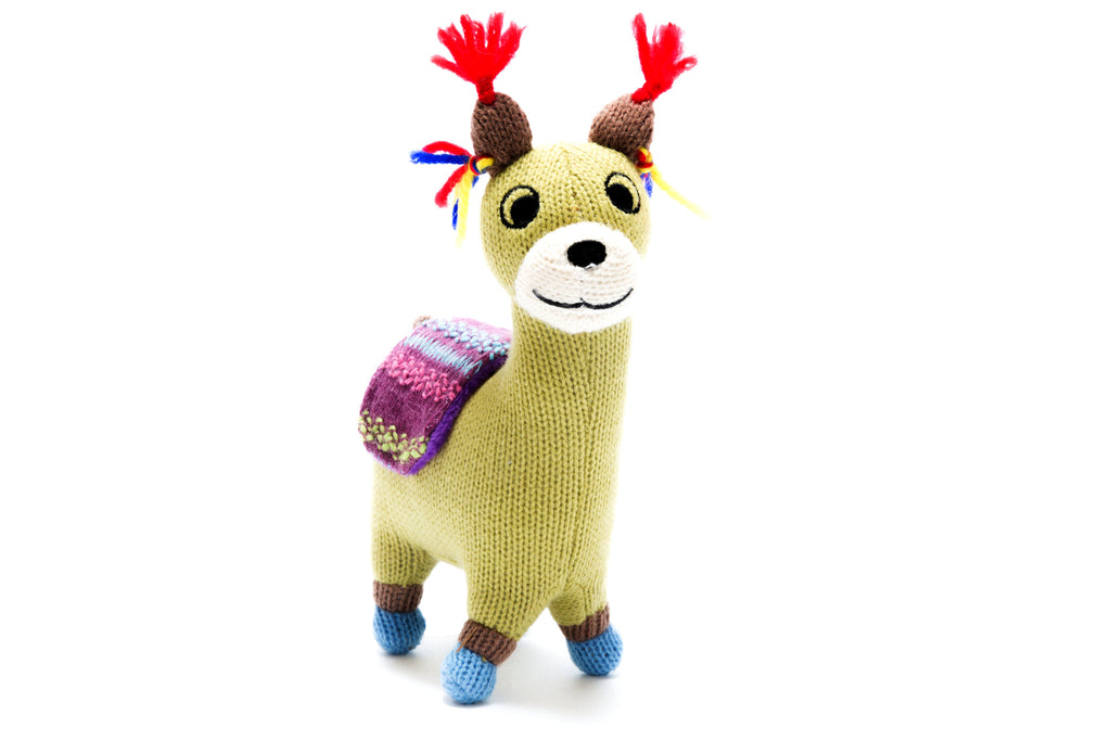 Small Knitted Llama Soft Toy with Blanket