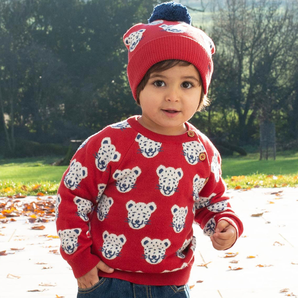 Cool Cat Jumper from Kite, Red with all over snow leopard motif