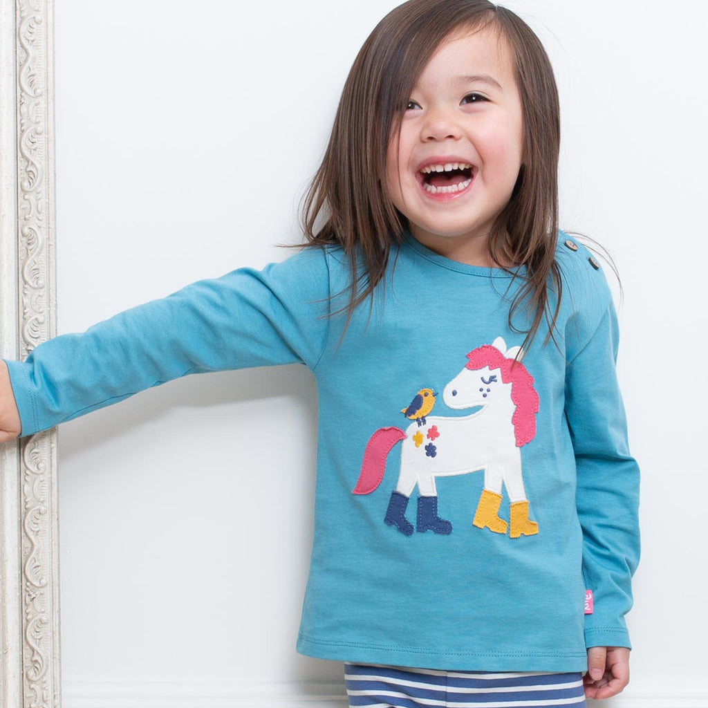Puddle pony t-shirt by Kite in beautiful delphinium blue
