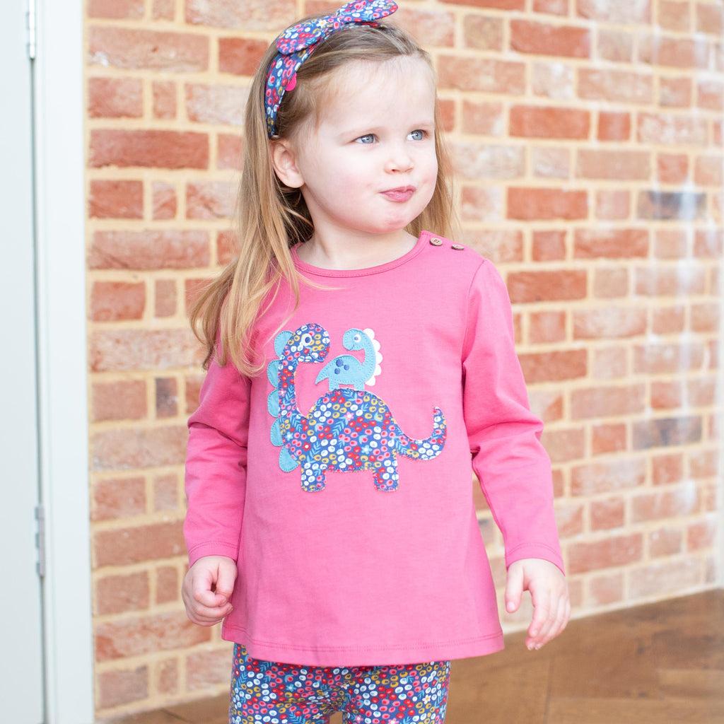 Dino Love tunic by Kite in Autumn Rose Pink