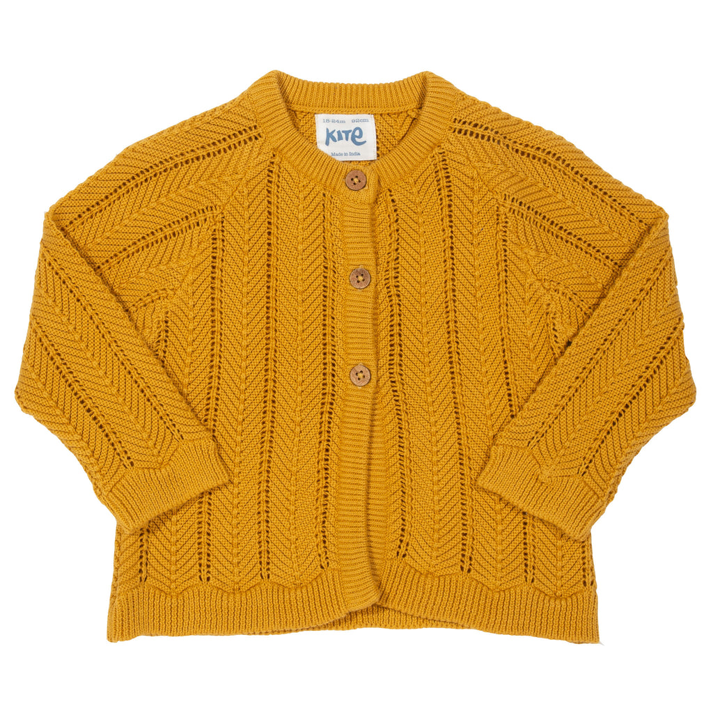 Chevron cardigan by Kite, Mustard yellow