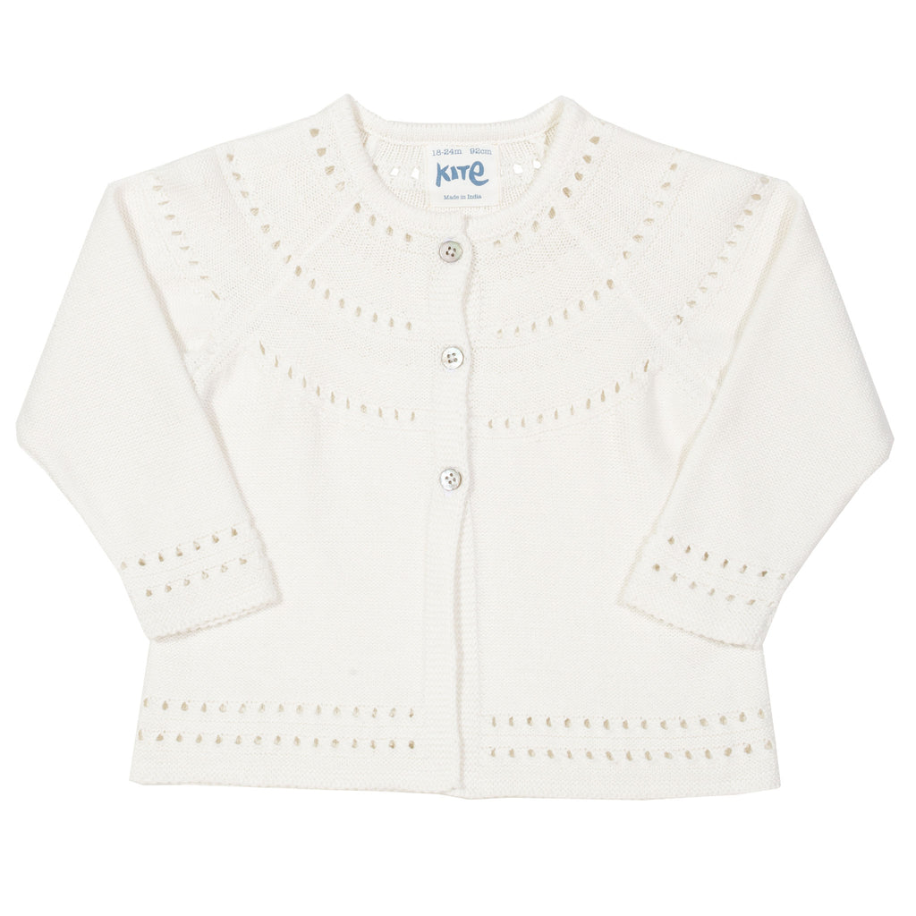 Pearly Cream Cardigan with crochet detail - Kite - 100% organic cotton