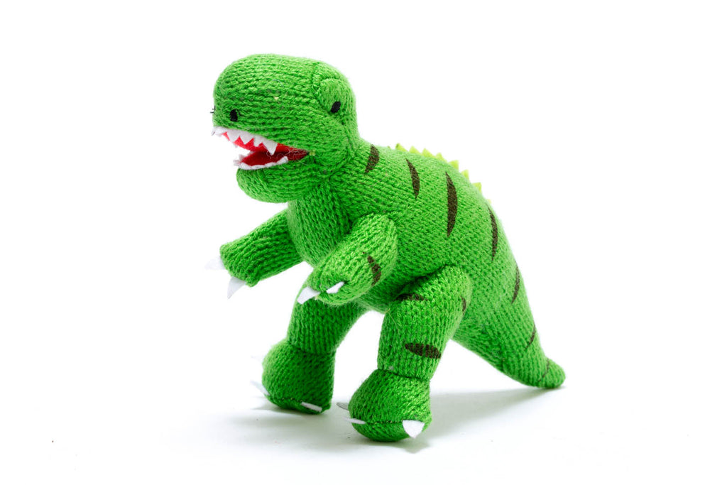 Small Green T Rex Knitted Dinosaur Baby Rattle