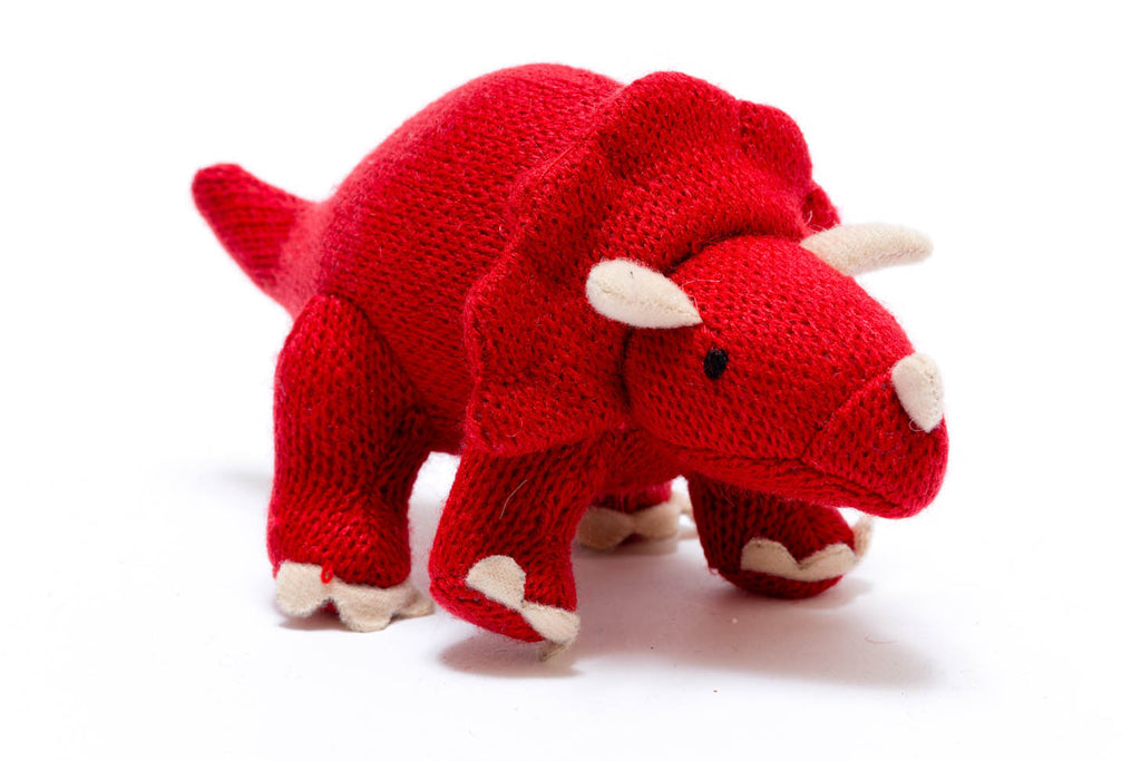 Red Triceratops Knitted Dinosaur Baby Rattle