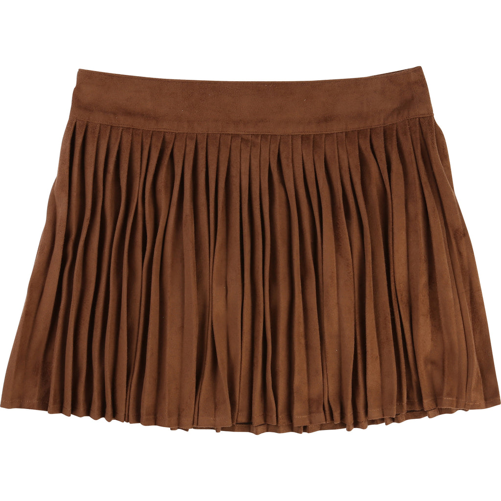 Girls Faux Suede Pleated Skirt