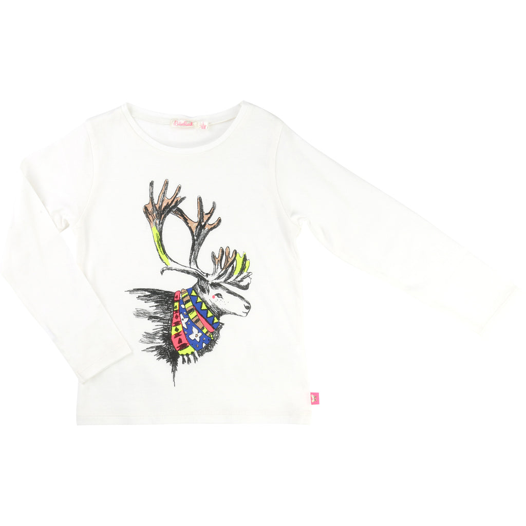 Billieblush - Long Sleeved Girls Top With Reindeer Print, 6y