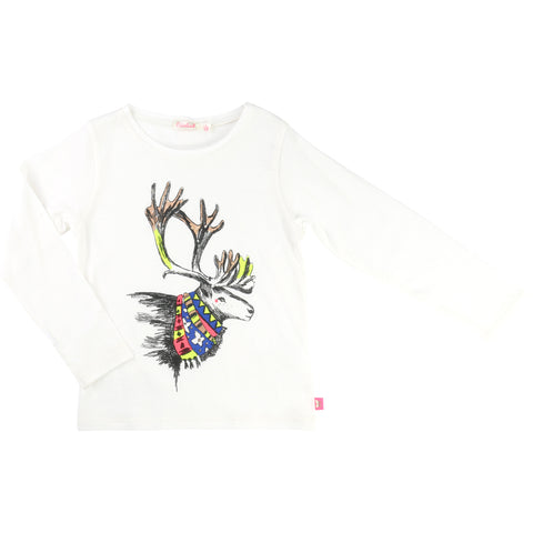 Long Sleeved Girls Top With Reindeer Print