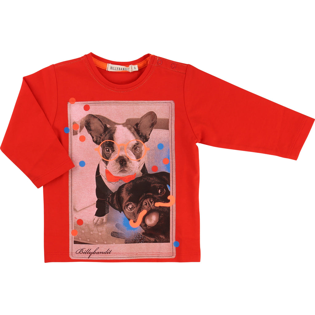 Baby and Toddler Boys Red Long Sleeved T-Shirt With Print