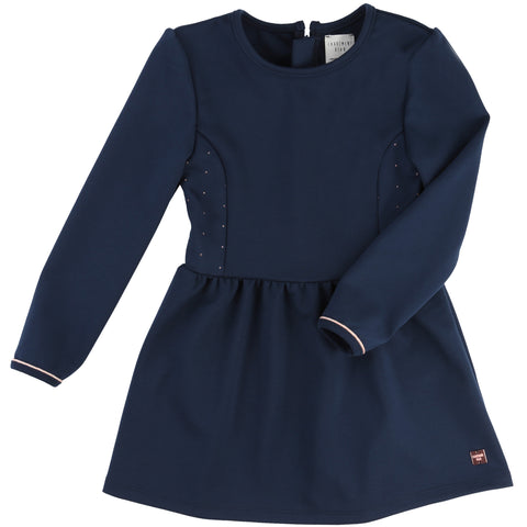Girls Navy Dress With Gold Spots