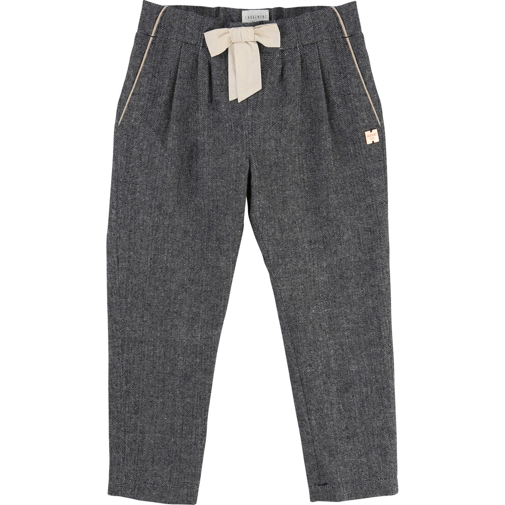 Carrement Beau - Girls Navy and White Smart Textured Trousers, 5 & 10y