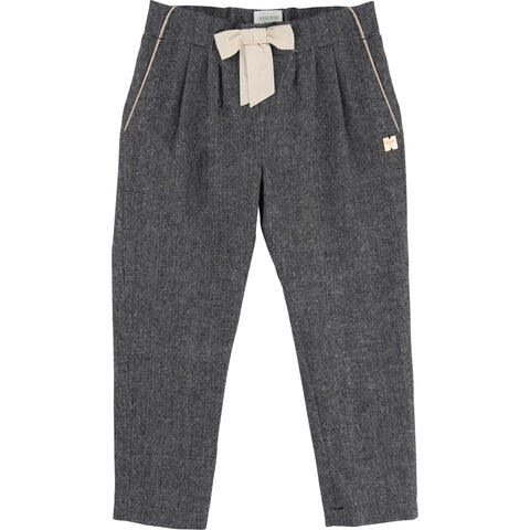 Girls Navy and White Smart Textured Trousers