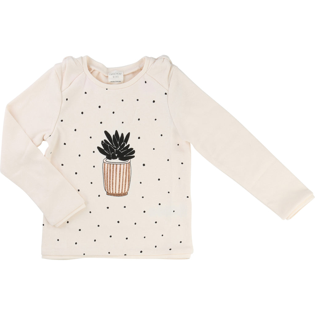 Girls Ivory Sweatshirt With Plant Detail