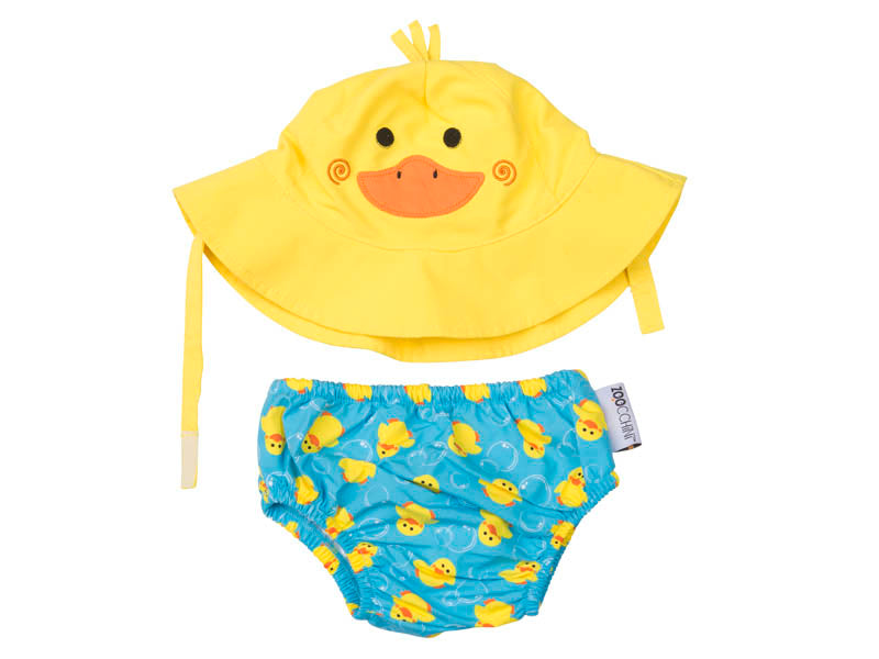 Baby swim trunks and sun hat set