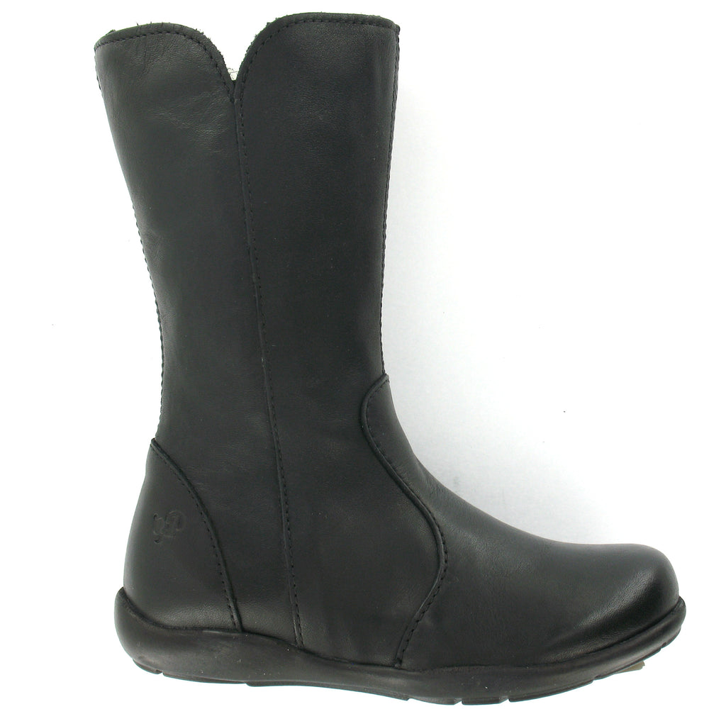 Adella' Girls Black Leather Boots