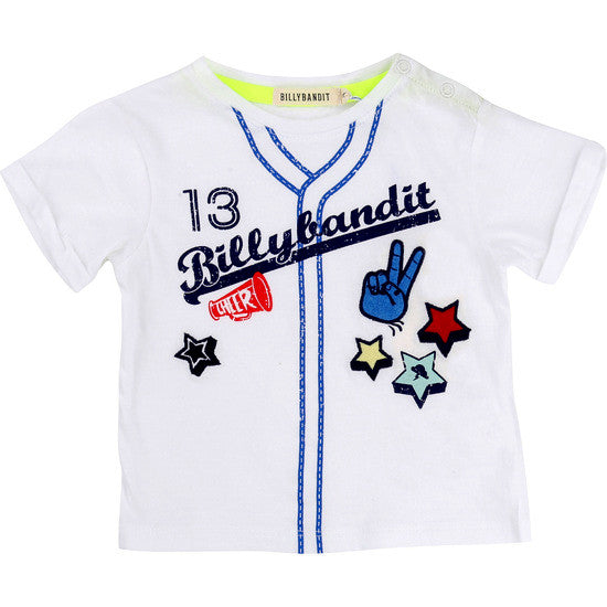 Baby and Toddler Boys White Baseball T-Shirt