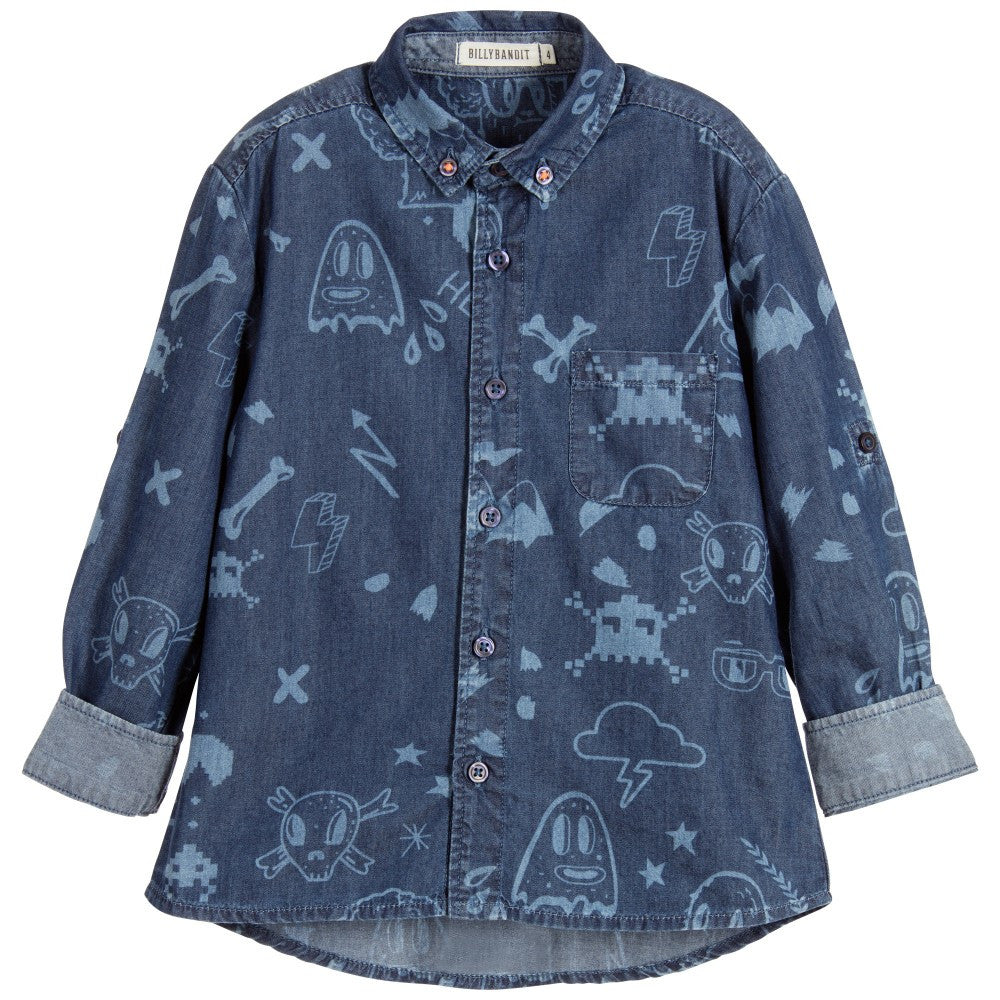 Boys Printed Denim Shirt