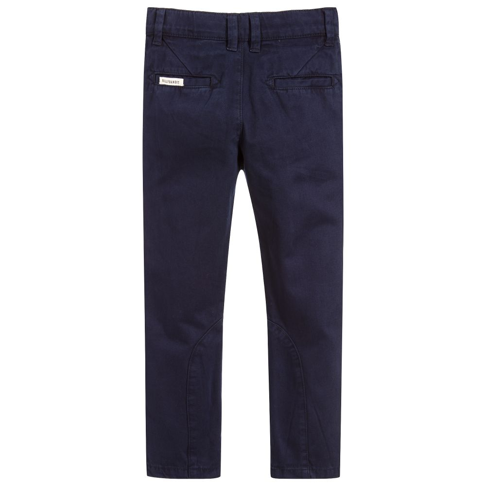 Navy Blue Trousers In Cotton Twill