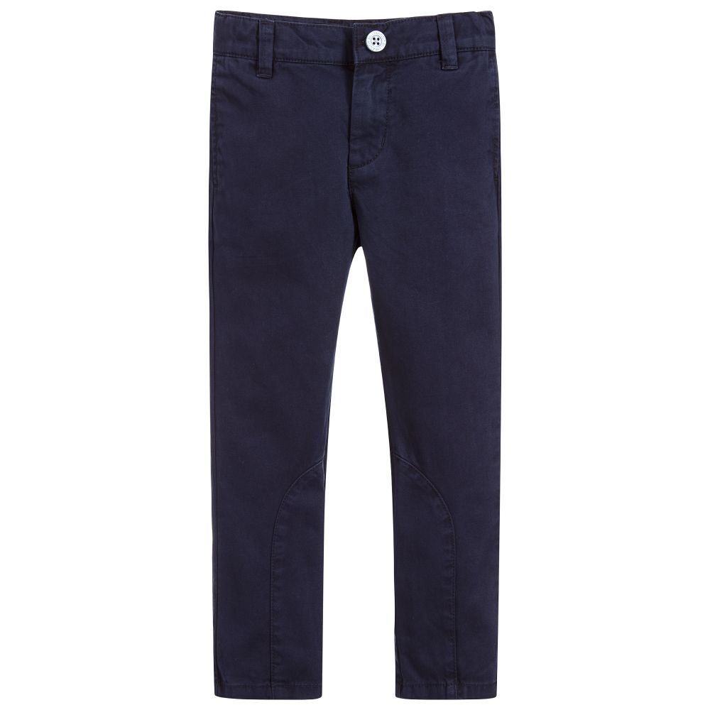 Billybandit - Navy Blue Trousers In Cotton Twill, 8 & 12y