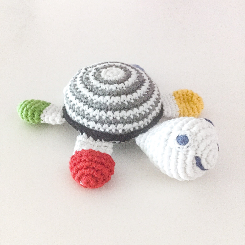 Turtle Baby Rattle - Fairtrade crochet cotton - Black and White