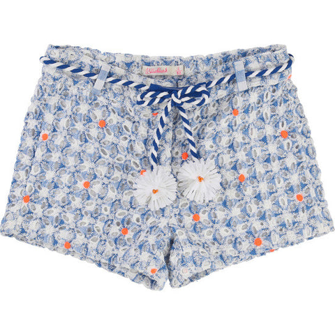 BLUE & ORANGE GUIPURE Shorts
