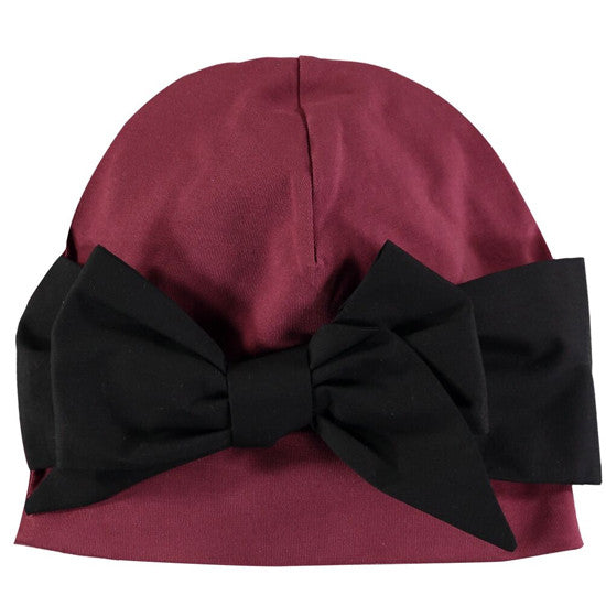 Papu - Pinja' Bow Beanie in Burgundy, 1-2y