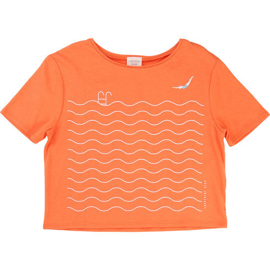 Girls Boxy T-Shirt with Swimmer Print