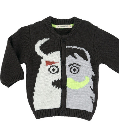 Billybandit - Charcoal Knitted Monster Baby Boys Cardigan, 12m