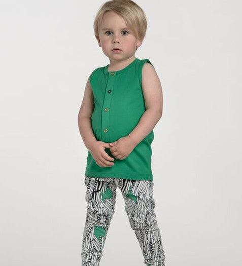 Papu - Cucumber Green Sleeveless Top, 3-4 & 5-6y
