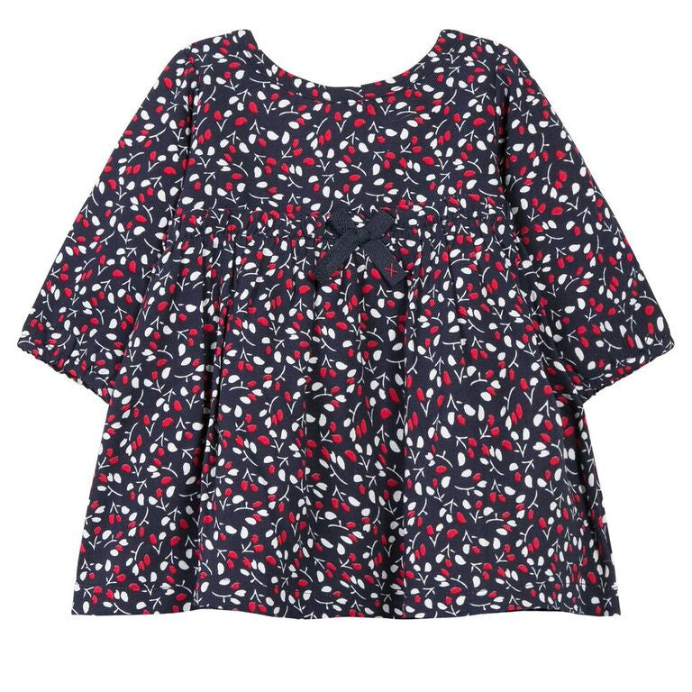 Navy & Red Floral Baby Dress